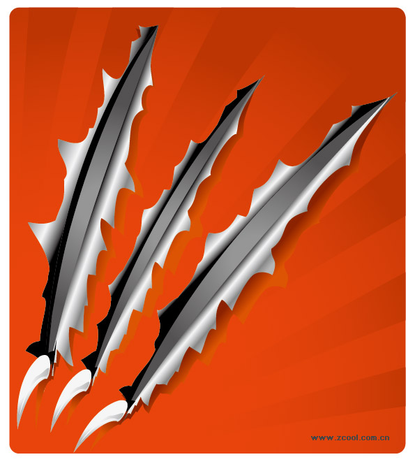 Claws scratched paper vector material