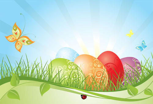 Colorful Easter background 02 vector material