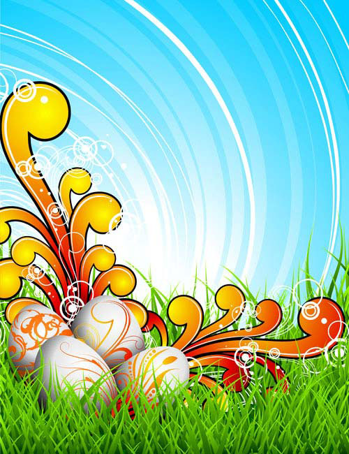 Colorful Easter background 03 vector material