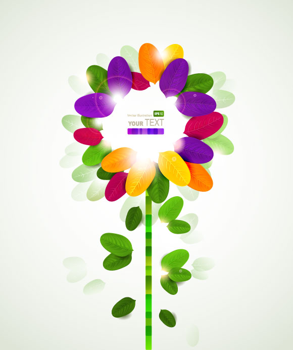 Colorful flowers background vector material 01 Vector