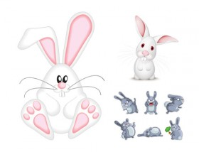 Cute rabbit vector material