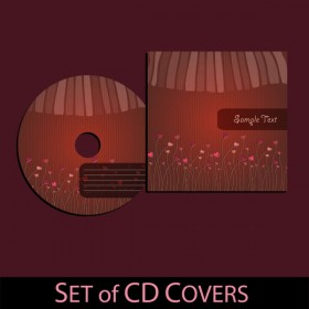 Dark red CD covers 02   vector material