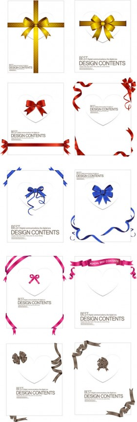 Delicate ribbon collection 02 vector material