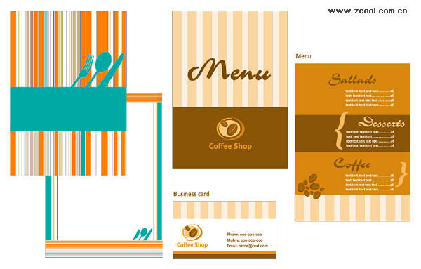 Dining menu and business card template vector material