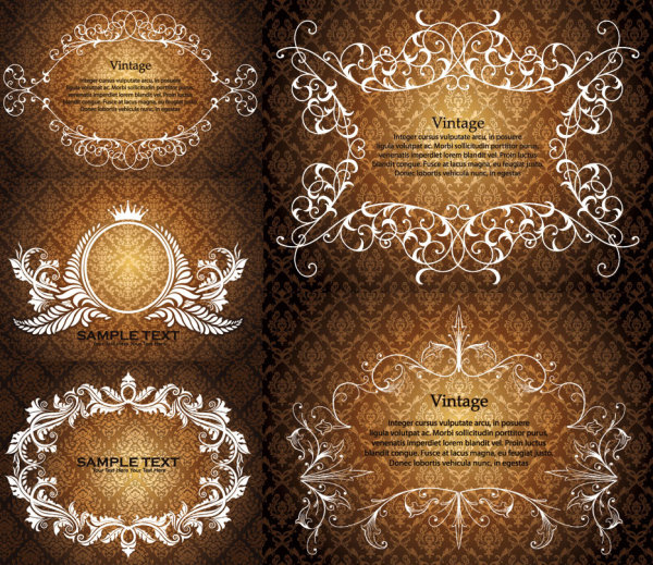 European gorgeous lace pattern vector material