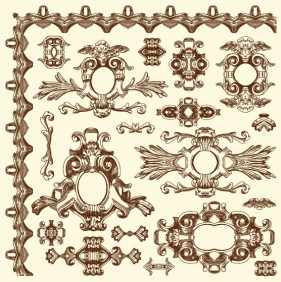 European retro lace 07   vector material