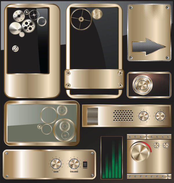 Exquisite metal icon vector material 01   Vector