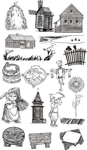 Farm line drawing vector material