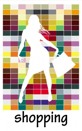 Fashion shopping beauty silhouette 03 vector material