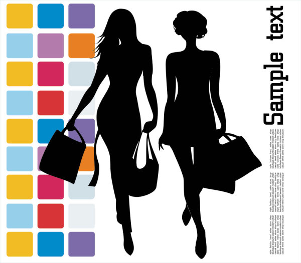 Fashion shopping beauty silhouette 04 vector material