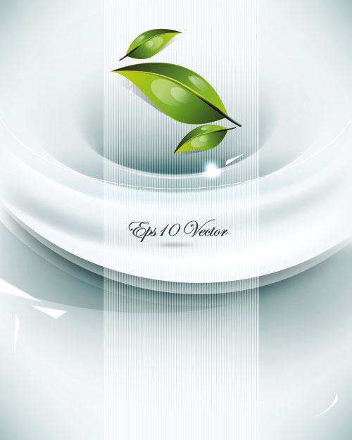 Gorgeous the dynamic green leaves background vector material 03 vector material