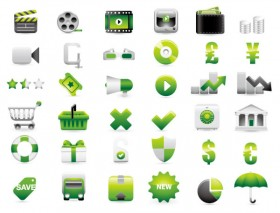 Green shopping website decoration icon vector material
