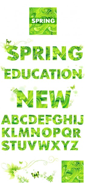 Green spring, the letters of the alphabet vector material Vector