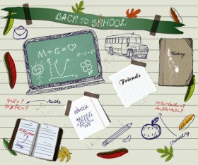 Hand painted school supplies 01 vector material