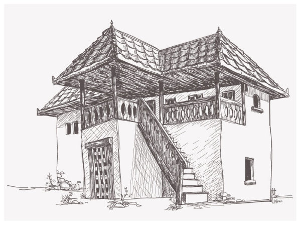 House sketch vector material  4