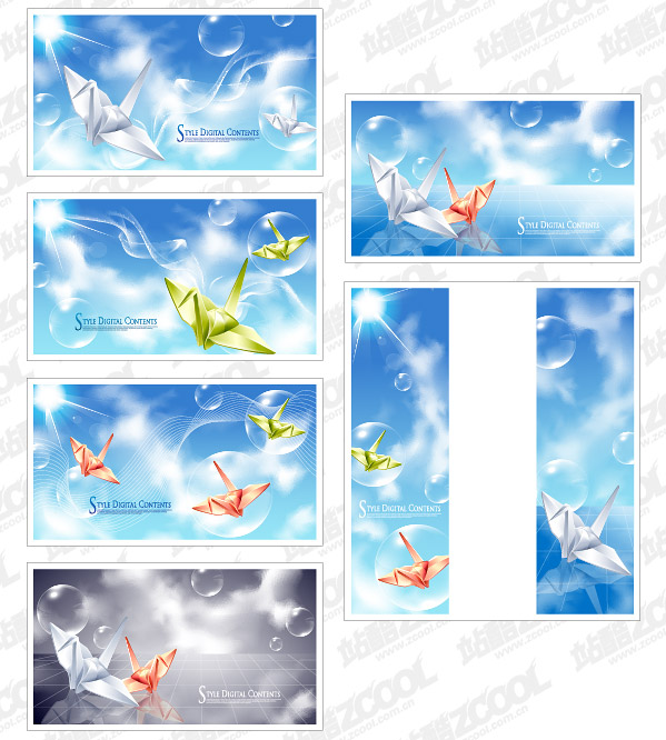 Paper cranes and fantasy background vector material