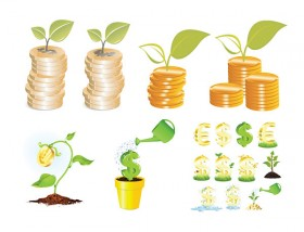 Planting coins vector material