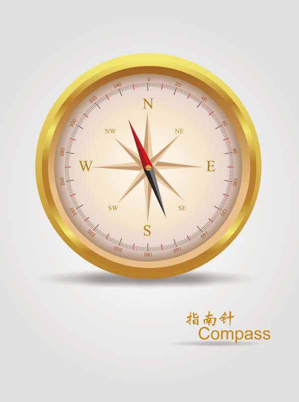 Realistic golden compass vector