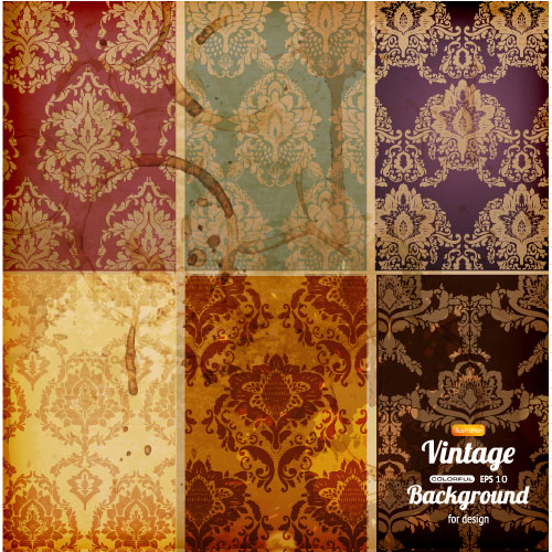 Retro pattern background 01 vector material