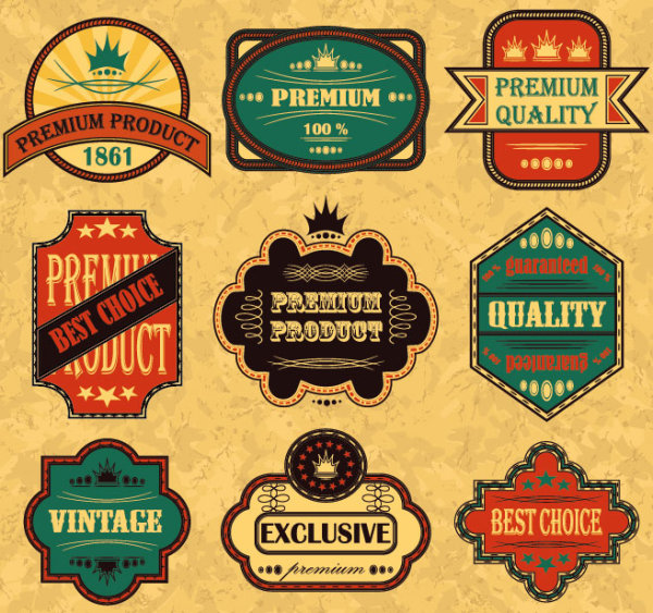 Retro sticker label 03 Vector
