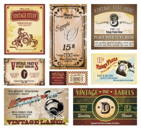 Retro wine label collection 05 vector material
