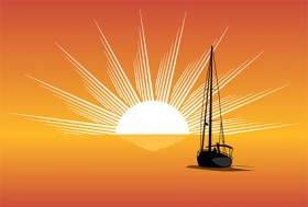 Sea sunset sailboat silhouette vector material