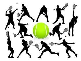 Tennis action figures silhouette vector material