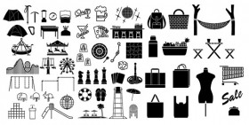 The various the silhouette elements vector material   Leisure (58 elements)