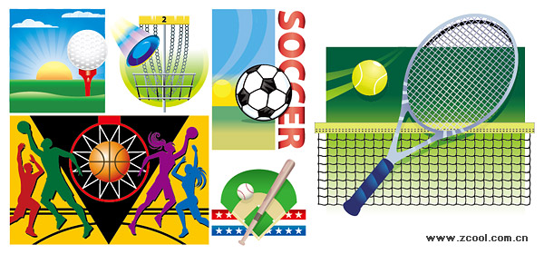 Various sports illustrations vector material