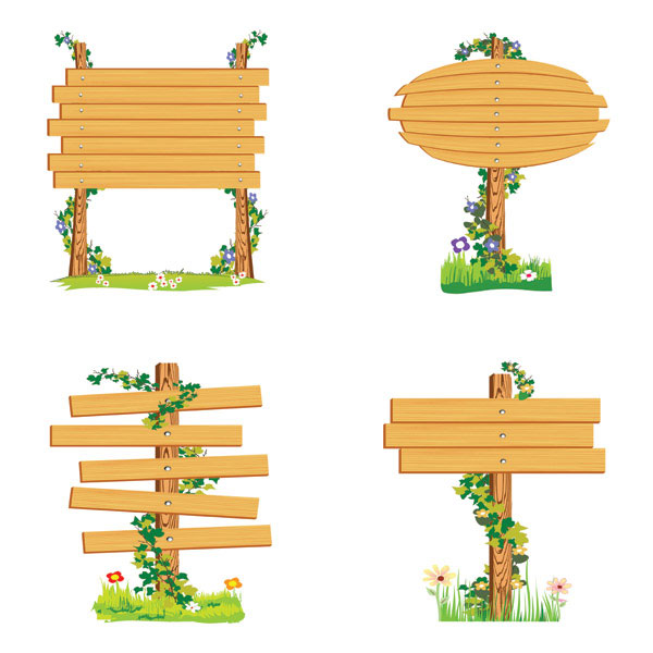 Vector wood signs vector material  4