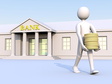 3D little people to move money from the bank Images