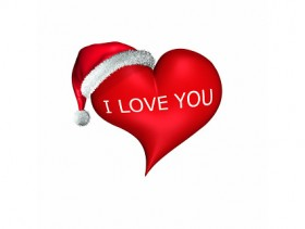 3d wearing Christmas hats heart shaped picture material