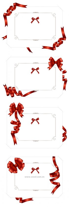 4 blank cards vector material models wound ribbon