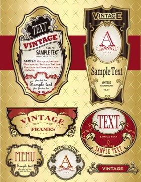 Beautifully ornate label bottle stickers 04 Vector
