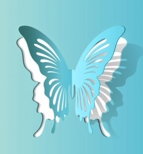 Butterfly paper cut vector material 03 Vector