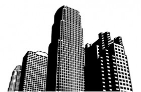 City high rise building construction vector material