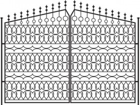 European pattern style iron gate fence 01 vector material