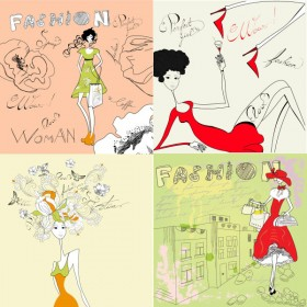 Fashion girl stick figure hand painted Vector