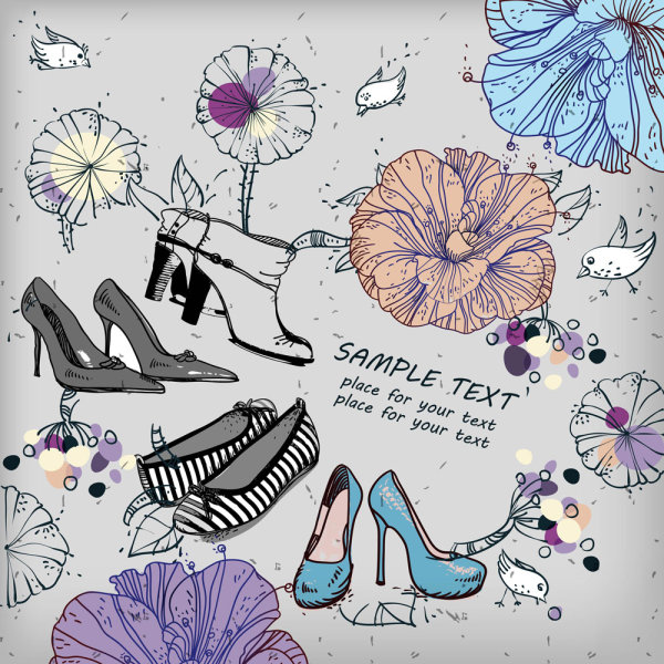 Fashion shoes illustrator 01 vector material