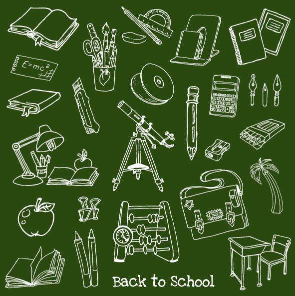 Hand painted learning items 02 vector material