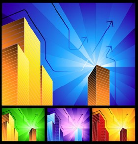 High rise buildings and Radiation simple background Vector
