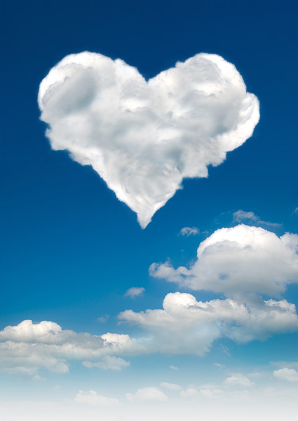 Images of the heart shaped clouds
