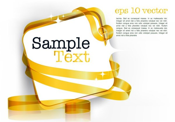 Ribbon design decorative text template vector material 3