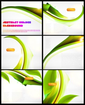 The dynamic the green leafy Ribbon Vector