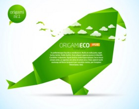 The green ecological origami animal 02 vector material