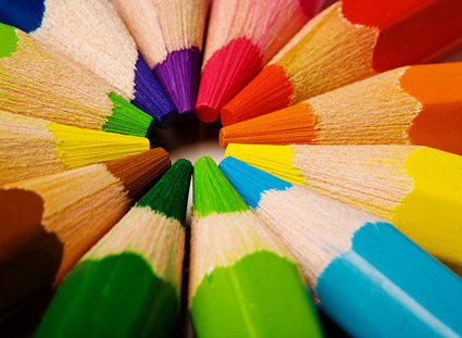 Colored pencil close up picture material