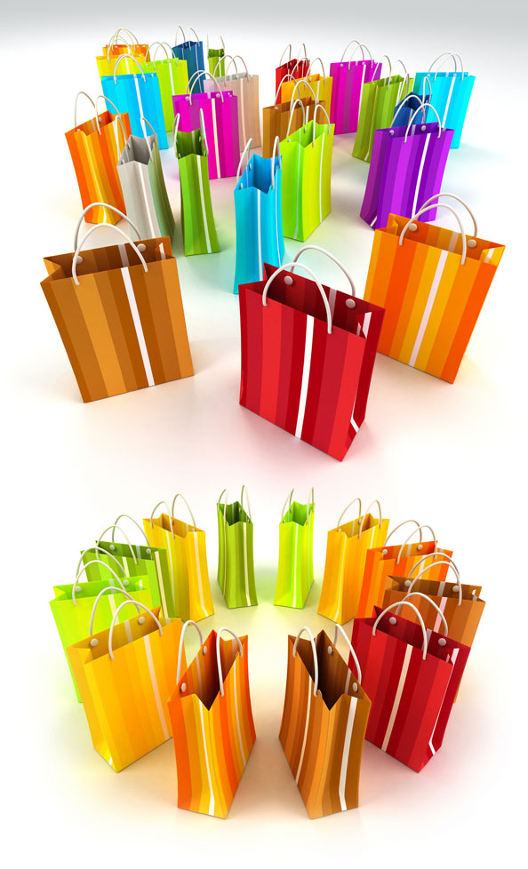 High quality pictures of colored paper shopping bag