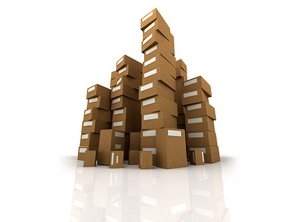 Images of stacked cartons