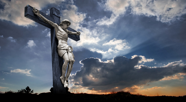 Picture of the cross with Jesus HD sky