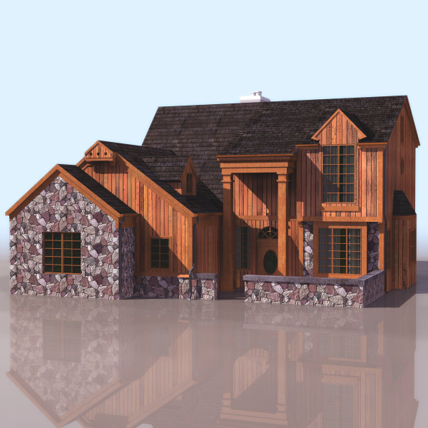 3D model of European style houses